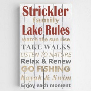 Customized Lake House Rules Accented Canvas Sign