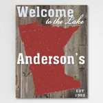 Personalized Lake House US State Canvas Sign Board