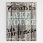 Personalized Rustic Wood Lake House Canvas Sign