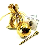 24K Gold Dipped Golf Ball and Gold Tone Tee-One - Give the gift of gold for any occasion!