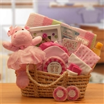 Precious New Baby Pink Carrier Gift Basket - Help Mom and Dad with this Great Baby Gift!