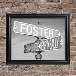 Personalized Black and White Intersection Street Sign Frame