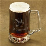 Shamrock Beer Mug Personalized - The perfect gift for St Patrick's Day or an Irish friend's home bar.