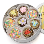 Spring Edition Oreo Cookies Tin - Chocolate Dipped Oreos© dipped in delicious Belgian Chocolates and decorated with assorted designer toppings.