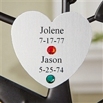 Personalized Family Tree Silver Heart Charm