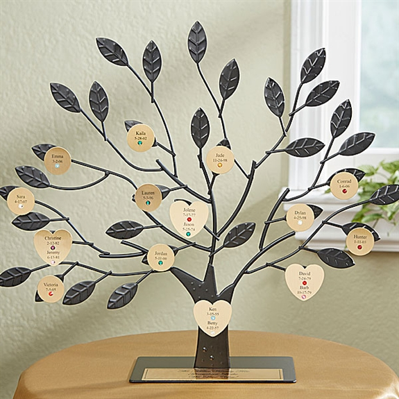 Engraved Family Tree Stand | Personalized Family Name Art