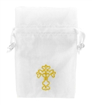"Sheer Drawstring Bags with Gold Cross 4"" x 6"" (12)"