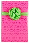 24 In X 10 Ft Pink Christian Fish Gift Wrap