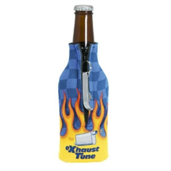 Promotional Zippered Bottle Coolie with Blank Bottle Opener Scuba Foam