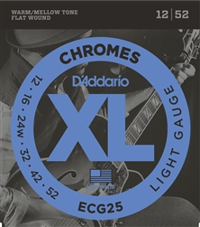 D'Addario ECG25 Chromes Flat Wound, Light, 12-52