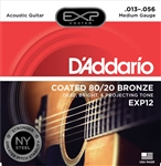 D'Addario EXP12 Coated 80/20 Bronze, Medium, 13-56