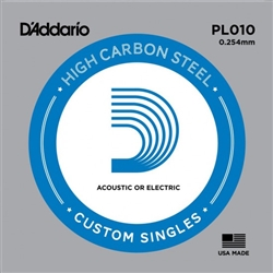 D'Addario Single Plain Steel 010