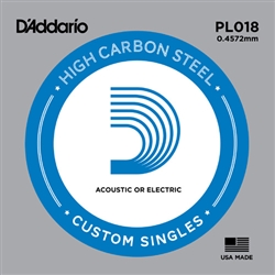 D'Addario Single Plain Steel 018