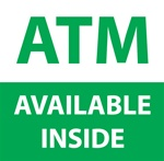 "GetBranded.com-4"" x 4"" ATM Available Inside, Green and White"