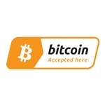 3 x 1 in Bitcoin Accepted Here Decal