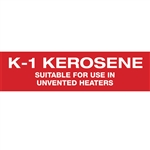 "Kerosene Suitable for Use in Unvented Heaters Decal - 12""x3"""