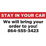 Stay in your Car, curbside pickup banner, 36x17