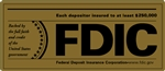 FDIC 7 x 3 inch Gold Decal-GetBranded