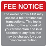 "GetBranded.com-4"" x 4"" Fee Notice Decal, Red and Grey"