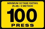 100 Press Octane Rating Decal
