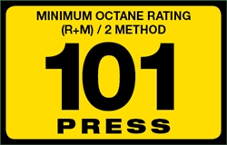 101 Press Octane Rating Decal