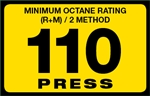110 Press Octane Rating Decal