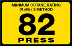 82 Press Octane Rating Decal