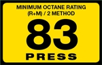 83 Press Octane Rating Decal