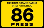 86 Press Octane Rating Decal
