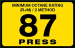 87 Press Octane Rating Decal