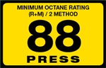 88 Press Octane Rating Decal