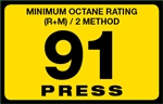 91 Press Octane Rating Decal