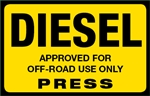 Off Road Diesel Press Octane Rating Decal - Yellow
