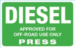 Diesel (Off Road) Press Octane Rating Decal - Green