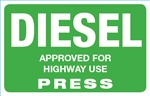 Diesel (On Road) Press Octane Rating Decal - Green