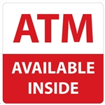 "GetBranded.com-4"" x 4"" ATM Available Inside, Red and White"