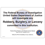 FBI Robbery Warning Decal