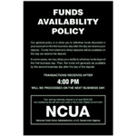 NCUA Funds Availability Sign and Transaction Notice 6 x 9 inches