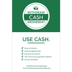 Withdraw Cash Wednesday 12x18 Use Cash, Benefits - Poster