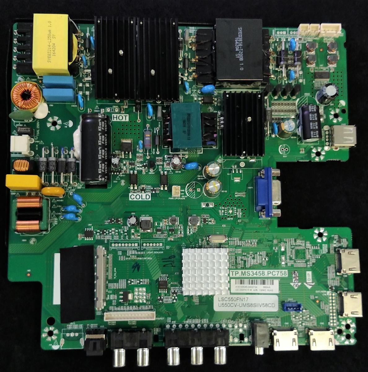 A16100545 Sceptre Main Board / Power Supply, TP MS3458 PC758, LSC550FN19-W,  U55 SIIV58CD, U550CV-UMS