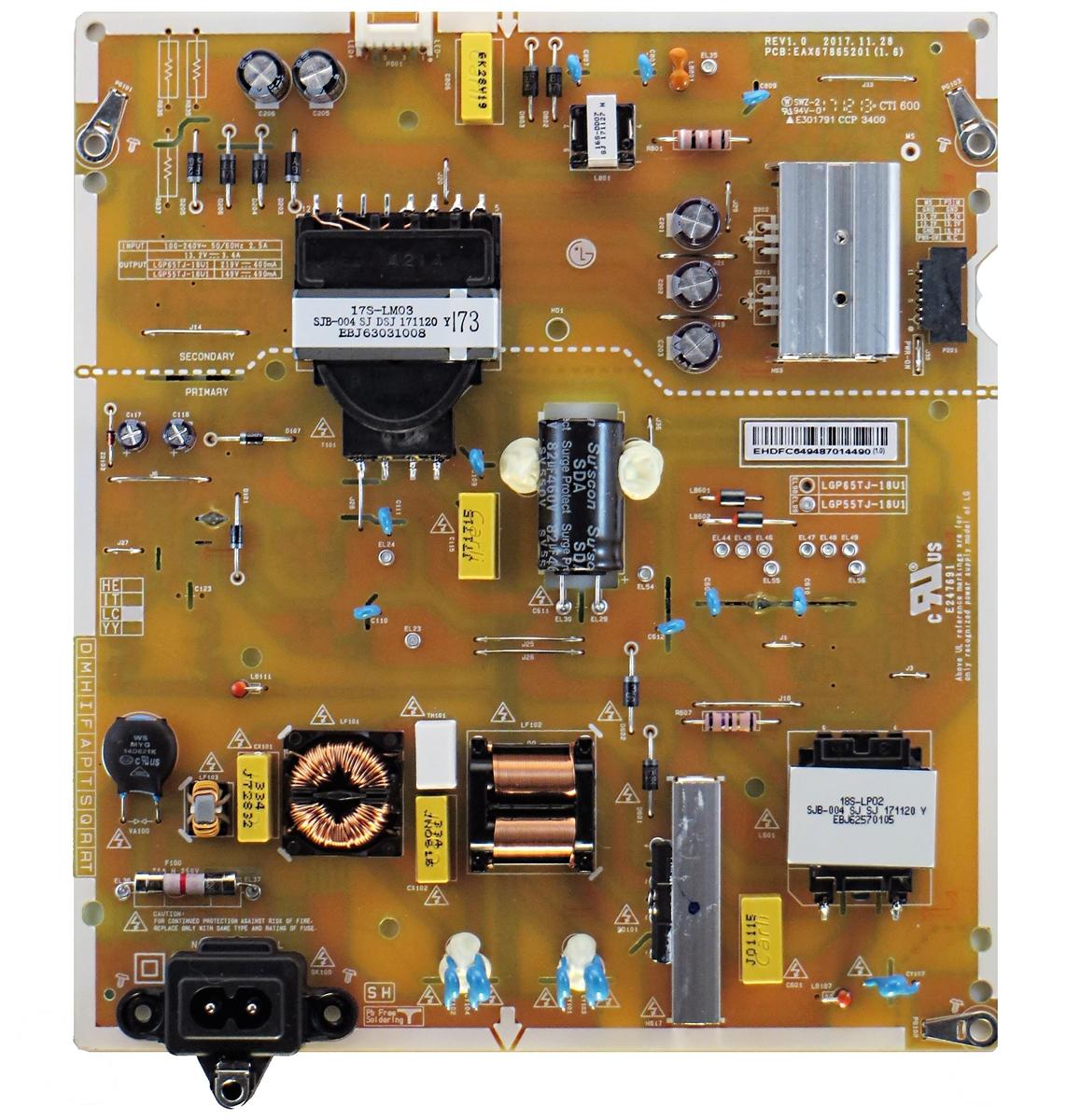 EAX67865101 EAY64928601 for LG 43UK6500AUA Power Supply Board LGP43T-18U1
