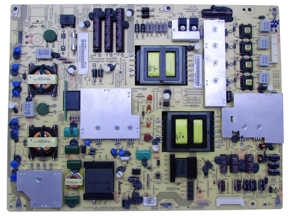 Plug Type: Universal Pukido DPS-143BP RUNTKA794WJQZ original for Sharp LCD-46X830A 52LX830A power board