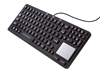 Used for Infection Control & Equipment Protection, the Waterproof Keyboard with Touchpad EKS-97-TP can be cleaned by washing with soap and water, sanitized or disinfected.