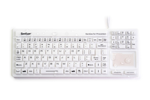"Used for Infection Control & Equipment Protection, the Washable ""Touchpad Plus"" Hygienic Rigid Silicone Washable Keyboard (USB) KBSTRC106T-W can be cleaned by washing with soap and water, sanitized or disinfected."