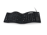 "Used for Infection Control & Equipment Protection, the WetKeys Full-size Flexible Silicone Washable Keyboard with ""Flex Touch"" Touchpad (USB) KBWKFC103STi-BK can be cleaned by washing with soap and water, sanitized or disinfected."