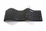 "Used for Infection Control & Equipment Protection, the Waterproof ""Soft-touch Comfort"" Professional-grade Full-size Flexible Silicone Waterproof Keyboard (USB) KBWKFC106-BK can be cleaned by washing with soap and water, sanitized or disinfected."