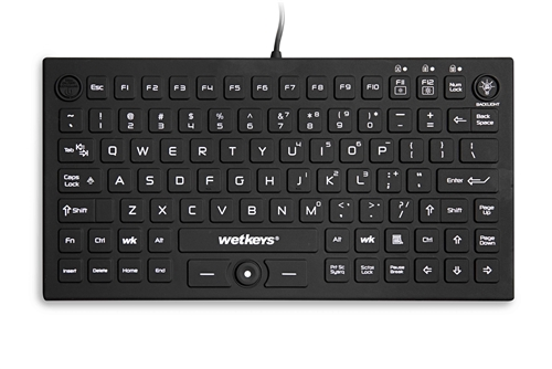 WetKeys Professional-grade Mid-Size Rigid Silicone Waterproof Keyboard with Pointing-Device, Backlight and ON-OFF Switch (USB) (Black) | KBWKRC89PB-BK