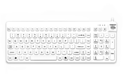 Used for Infection Control & Equipment Protection, the Really-Cool-LP Waterproof Silicone Keyboard RCLP-W5 can be cleaned by washing with soap and water, sanitized or disinfected.