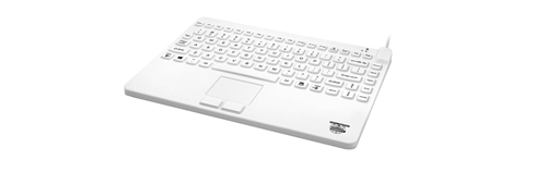 Used for Infection Control & Equipment Protection, the Slim-Cool+ Small-Footprint Keyboard Touchpad SCLP+/W5 can be cleaned by washing with soap and water, sanitized or disinfected.