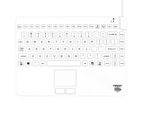Slim-Cool-Low-Profile-Touch Small-Footprint 12-inch Waterproof Silicone Keyboard, Touchpad, and Lifetime Warranty (USB) (Hygienic White) | SCLP+/MAG/W5/LT